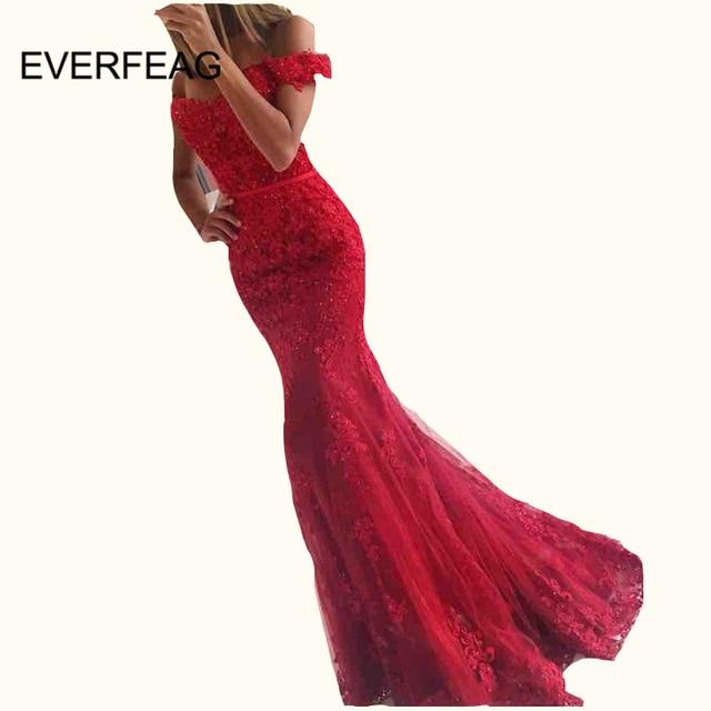 de3700bc865c Lace Applique Mermaid Evening Dresses 2018 Elegant Floor Length Off Shoulder  Sweetheart Long Formal Dress vestido largo