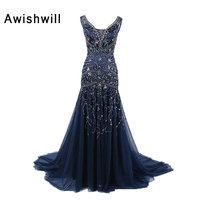 Customized V Neck Lace Up Back Handmade Beadings Tulle Navy Blue Evening Gowns Formal Dress For