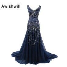 Kundenspezifische V-ausschnitt Lace Up Zurück Handgemachte Deckleisten Tüll  Marineblau Abendkleider Formales Kleid für Frauen Mu. 3c74cce614
