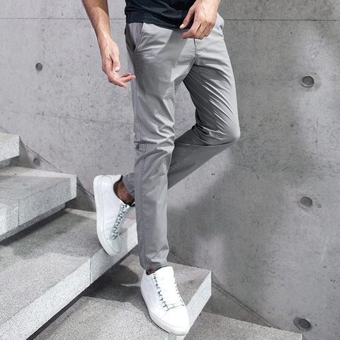 KUEGOU 2019 Summer Cotton Solid Black Gray Men Pants For Trousers Men Fashions Long Male Brand Clothing Casual Pants New 2397 Lahore