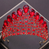 Queen's Crown Baroque Red/Green/Clear Crystal Princess Headdress Bride Wedding Crown Luxury Beauty Tiaras Pageant Headbands