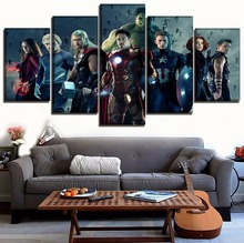 цена Wall Art Pictures Home Decor 5 Panel Movie Avengers 2 Age of Ultron Paintings On Canvas HD Print Modular Poster For Living Room онлайн в 2017 году