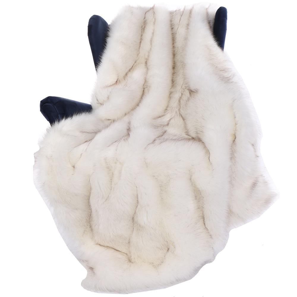 Battilo 51 X 67 Inches Luxury White Fox Faux Fur Throw Blanket