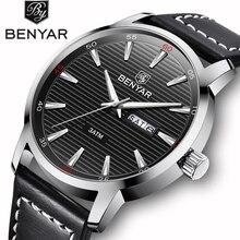 купить BENYAR 2018 New Men Watch Top Brand Luxury Automatic Week Date Military Fashion Male Quartz Leather Wristwatch Relogio Masculino по цене 1236.84 рублей