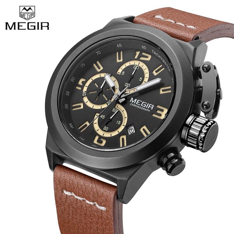 Megir Sport Mens Watches Top Brand Luxury Male Leather Waterproof Chronograph Quartz Military Wrist Watch Men Clock saat 2017