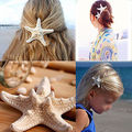1x Real Starfish Concha de Mar Pin Pinza de Pelo de la Boda de Playa de Novia Sirena Estilo Boho Headwear Romántica Accesorios para El Cabello