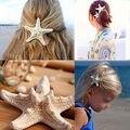 1x Real Starfish Grampo de Cabelo Nupcial Do Casamento Concha Do Mar Da Praia Pin Sereia Estilo Boho Headwear Acessórios de Cabelo Romântico