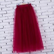 4Layers Fashion Skirt Faldas Korean style Big Swing Maxi Skirts Womens Spring Autumn Winter Jupe 100cm Tutu Long Tulle Skirt