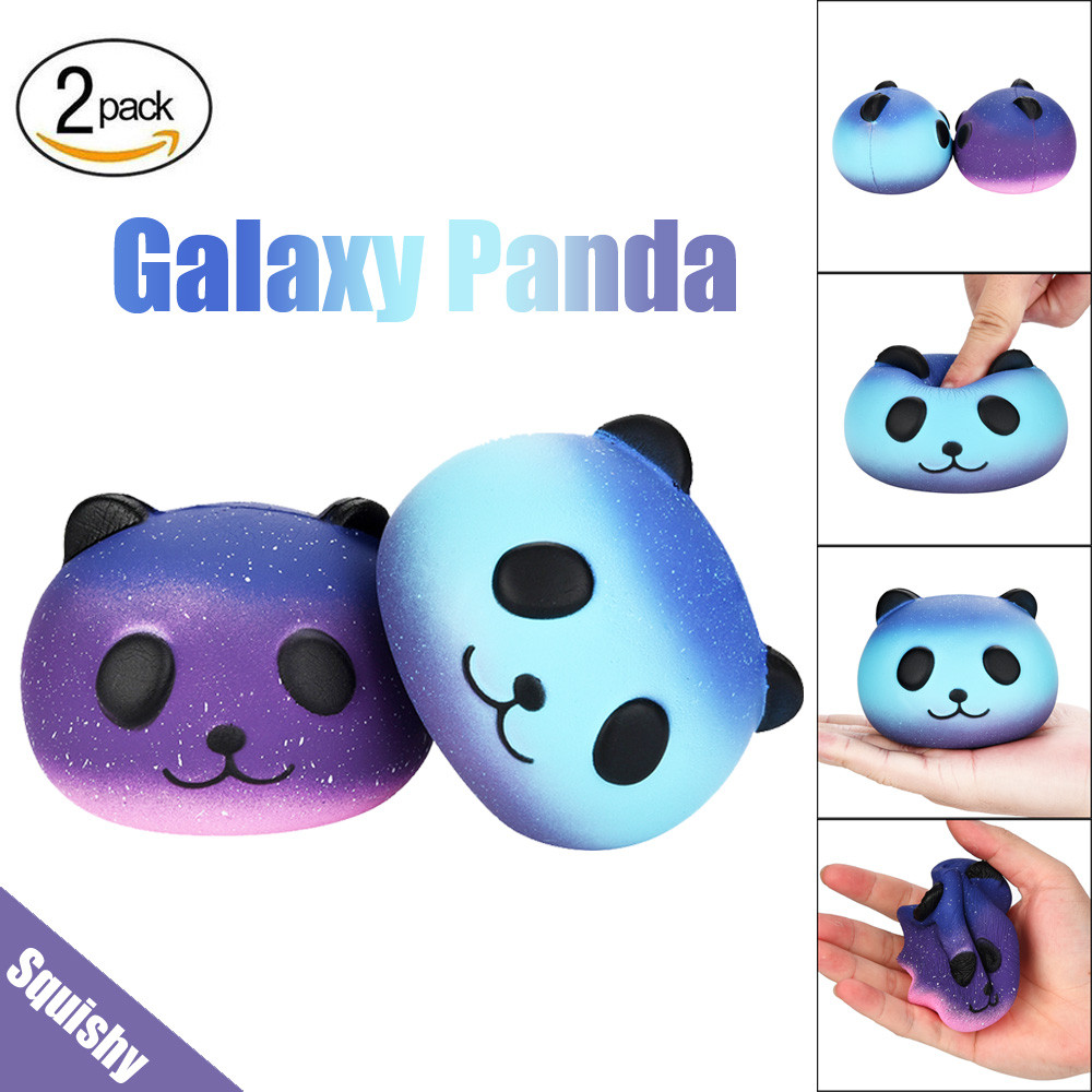 2Pcs Funny 10cm Squishy Galaxy Baby Panda Cream Slow Rising Cute Toys Stress Reliever Fun Toy For Adults Gadget Squeeze Decor