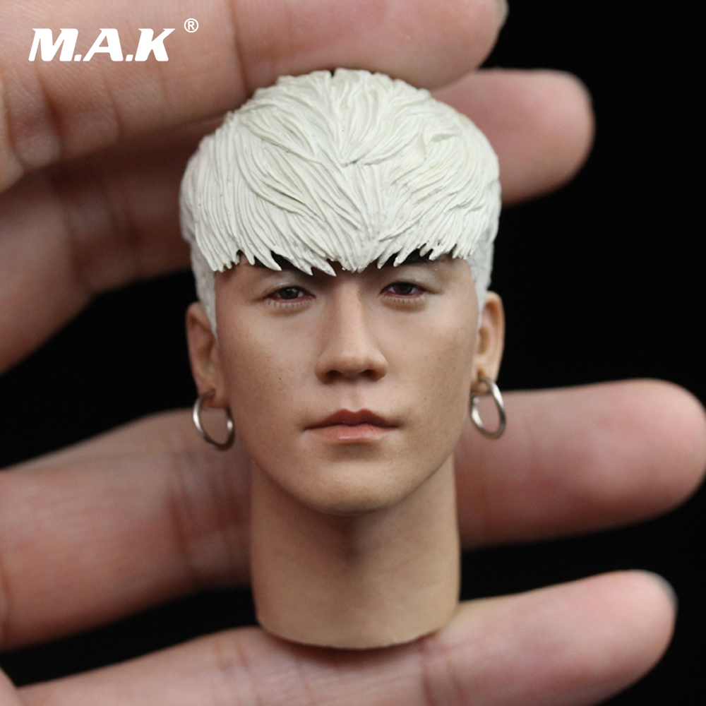 1/6 Scale Lee Seung-hyun Head Sculpt Carved South Korea Head Model with Earrings for 12 inches Action Figure Body