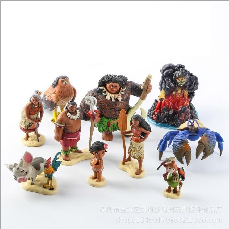 10pcs/set Cartoon Moana Princess Legend Vaiana Maui Chief Tui Tala Heihei Pua Action Figure Decor Toys For Kids Birthday Gift