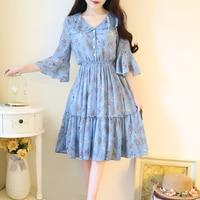 Mori girls summer new half flare sleeve white/blue Floral sweet Small fresh temperament Chiffon pleated girls dress