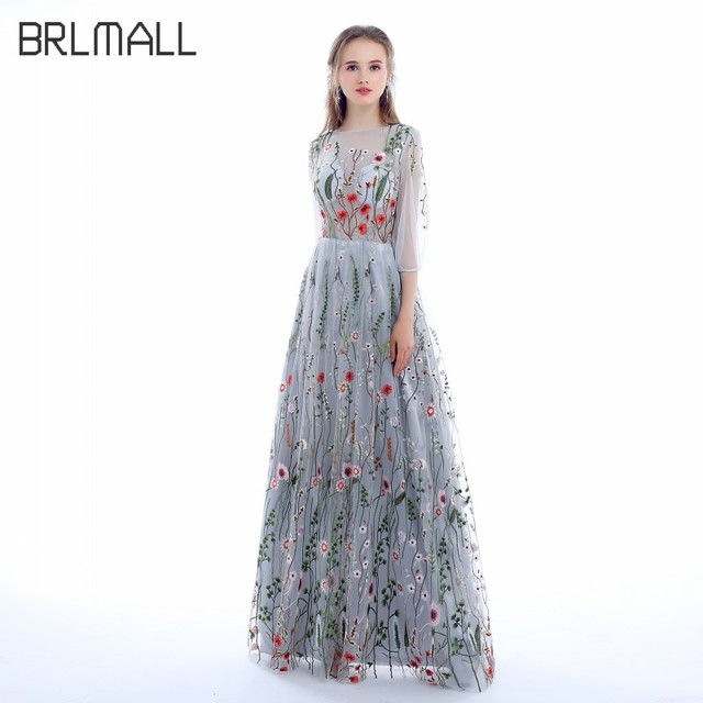 BRLMALL Women\'s Long Sleeves Prom Dresses 2017 Trendy Floral Embroidery A  line Evening Dresses Formal Party Gowns Pageant Dress-in Evening Dresses ...