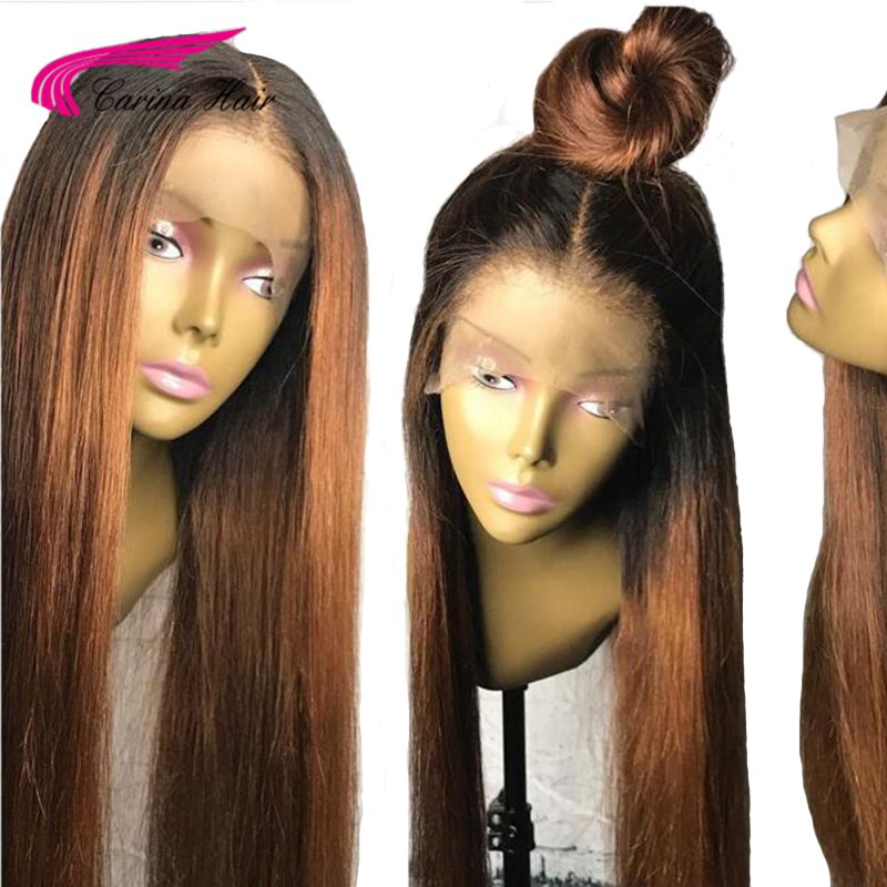 Perruques de cheveux humains avant dentelle Carina avec cheveux de bébé 13x6 partie moyenne profonde perruques de dentelle sans colle cheveux malaisiens Remy