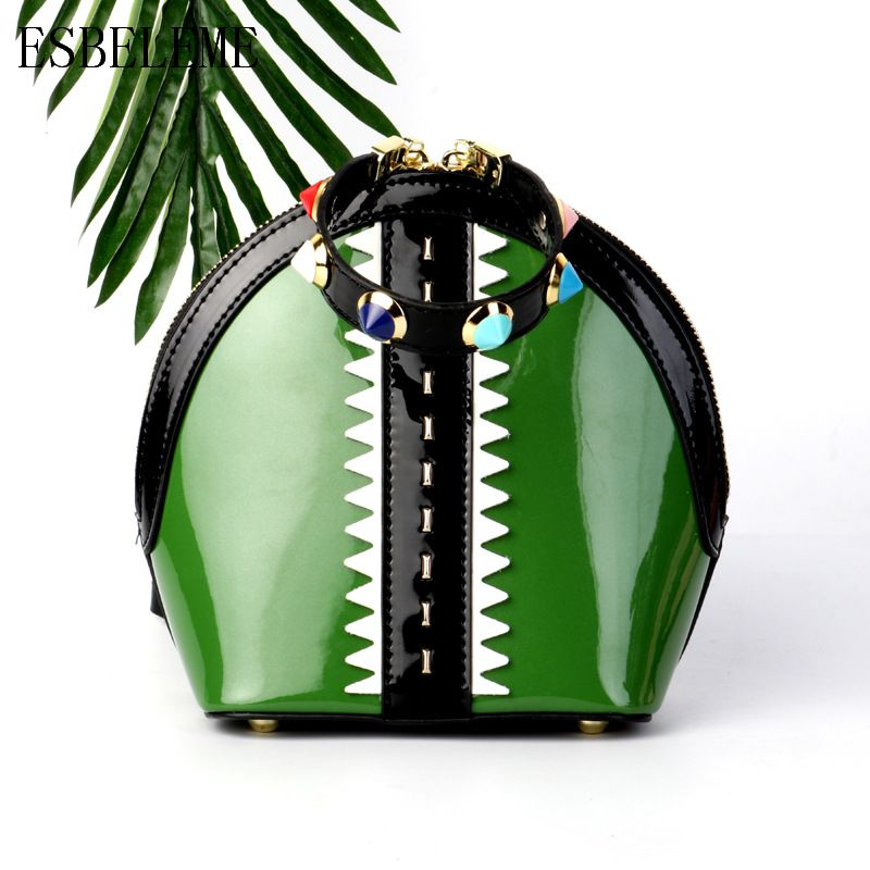 2019 Genuine Leather Bright Bags for Women Handbags Green Red Pink Black Crossbody Bag Ladies Designer