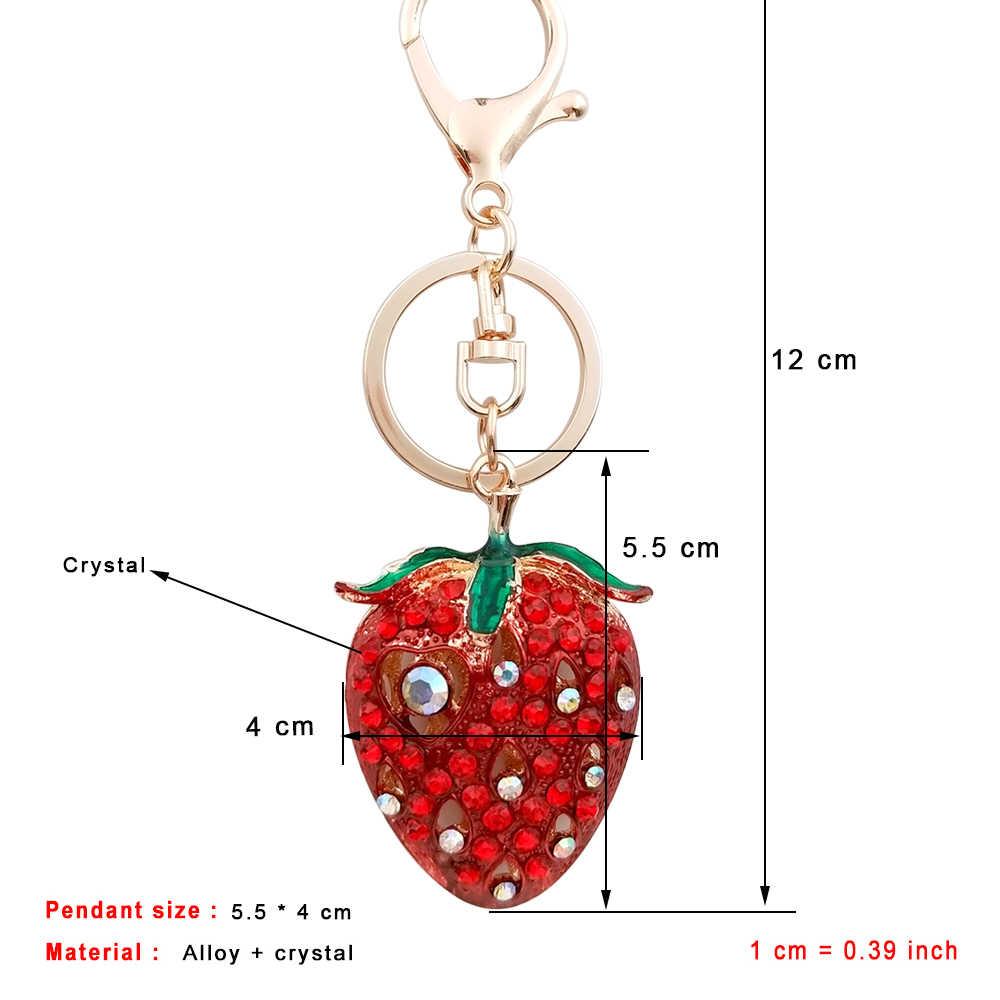 5.5*4 CM Morango Bonita Chaveiros 3D Frutas De Cristal Pingentes Keychain Chave Do Carro Chaveiro Charme Saco Bolsa Das Mulheres anel Da Jóia