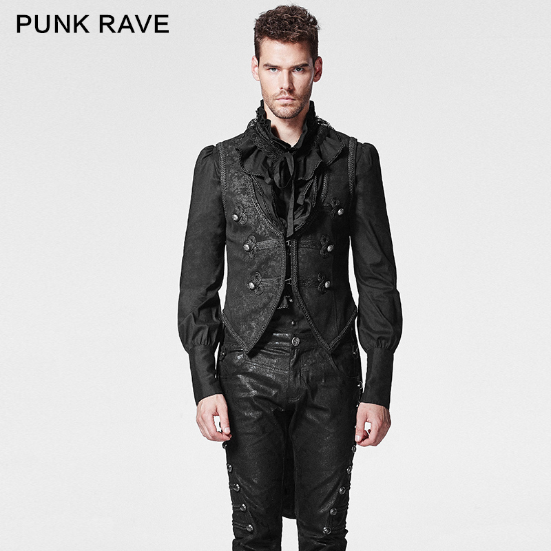 PUNK RAVE Gothic Embossed Pressed Flower Swallow Tail Men Formal Vest Back Sleeveless Coat Detachable Cotton Waistcoat Tops Tank