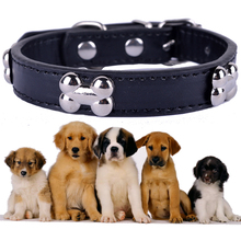 Bone Shaped Collar For Dogs Pu Leather Studded Dog Collar Small Pet Products Red Black Purple Navyblue Green