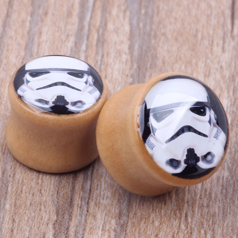 US $3 5 |Star Wars Storm Trooper Wood Ear Plugs 6 16mm Sale One Pair Flesh  Tunnel Ear Expander Gauge Stretching Body Jewelry-in Body Jewelry from