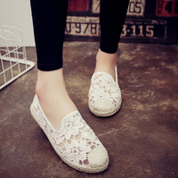 Woman Spring Summer Patchwork Suede Flats 2017 Women Casual Lace Shoes Espadrilles Beaded Ankle Straps Loafers
