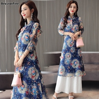 2019 new chinese style dress vietnam aodai chinese traditional dress cheongsam dress chinoise qipao oriental for women