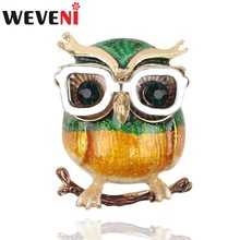 WEVENI Alloy Enamel Glasses Owl Bird Brooches Pin For Women Ladies Teen Rhinestone Decoration Accessories Novelty Scarf Jewelry(China)