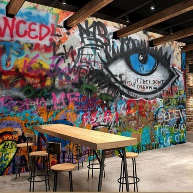Graffiti Art Wallpapers Group 71: Custom Wallpaper Graffiti Wall KTV Bars Cafe Cafe Office