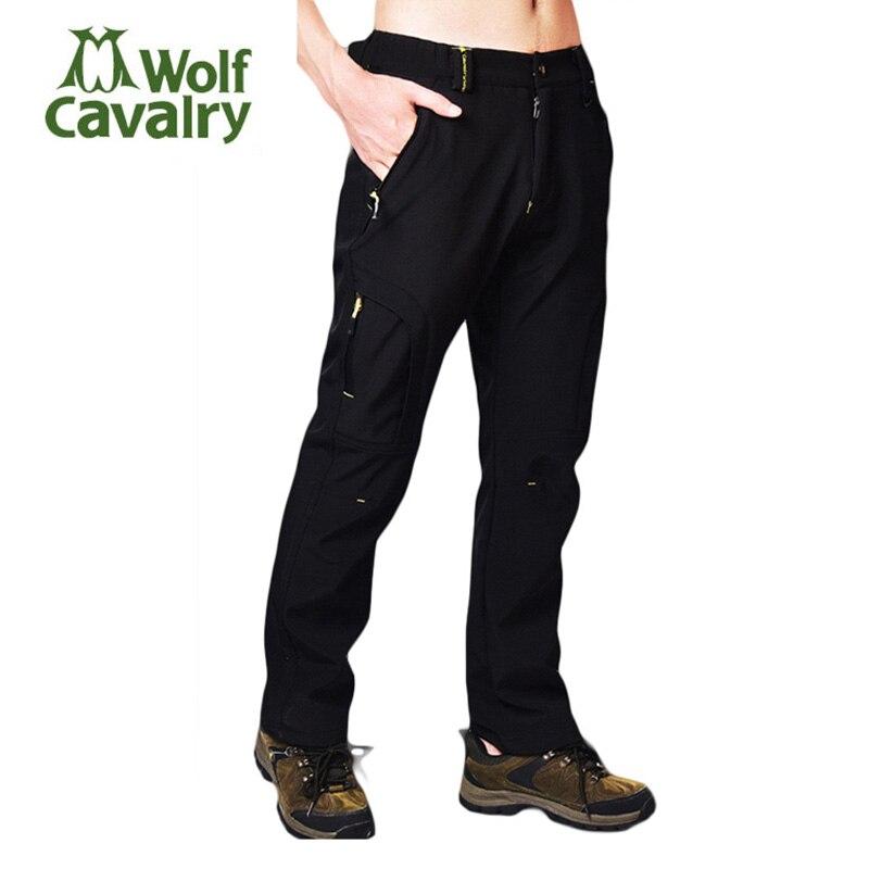 CavalryWolf Men Autumn Winter Inner Fleece Hiking Pants Outdoor Sports Waterproof Trekking Camp Male Ski Pant