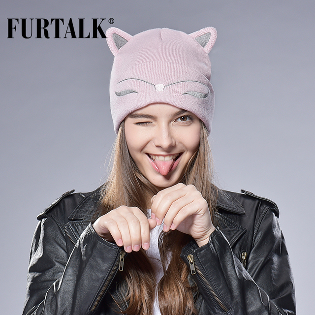 FURTALK Woman Knitted Baby Hat Wool Cotton Cuff Beanie Hat Ski Cap Spring Autumn Girls Hats for Women Sock Caps Stocking Hat Cat