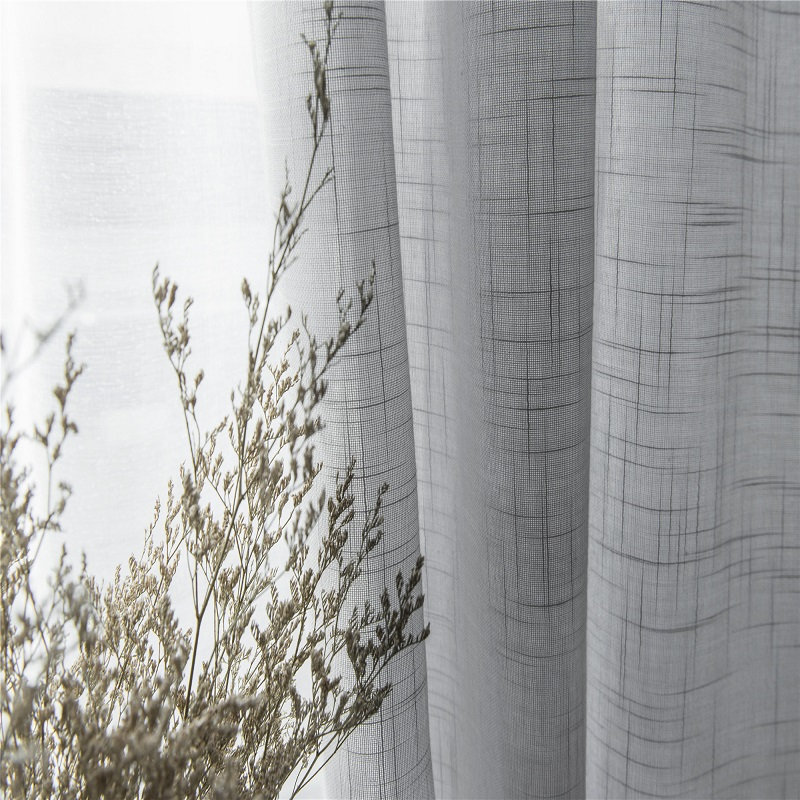White Cotton Linen Solid Color Tulle Curtain Decoration Hotel Bedroom Living Room Modern Fashion Gray Curtain Tulle Treatment