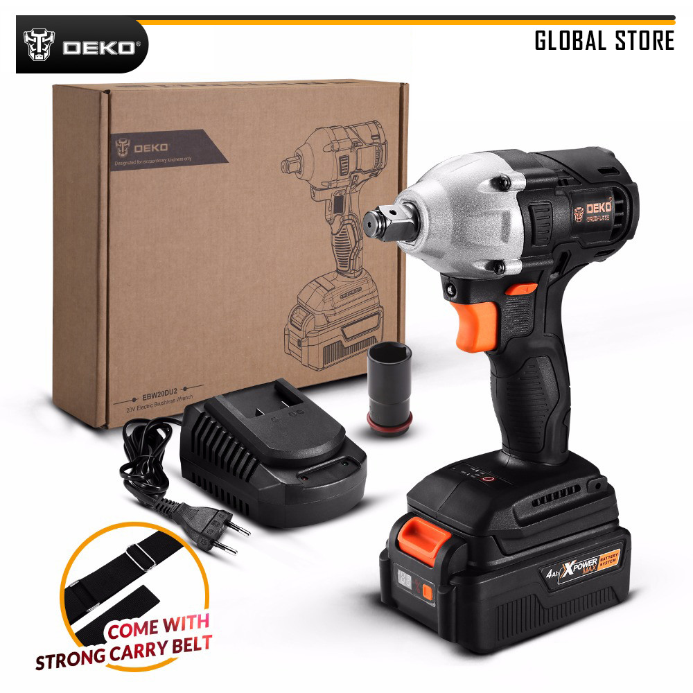 DEKO GBW20DU2 20V Max Brushless Electric Impact Wrench 4000mAh Lithium-Ion Battery 2000 Rpm 310 Nm Torque For Home DIY