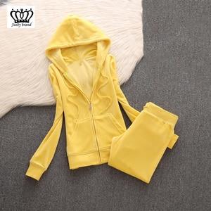 Image 1 - 2020 da marca das mulheres de veludo tecido agasalho calças ternos veludo terno mulher treino 2 peças hoodies e calças azul