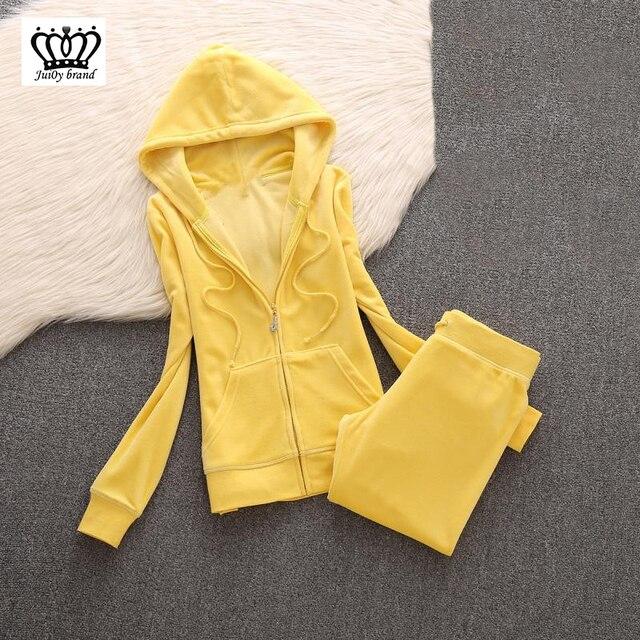 2020 da marca das mulheres de veludo tecido agasalho calças ternos veludo terno mulher treino 2 peças hoodies e calças azul