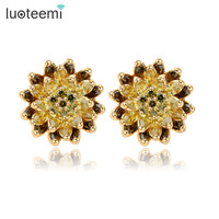 Teemi Top Quality Statement Flower Earrings Cubic Zircon Stone Stud Brincos18k Champagne Gold Plated Factroy Wholesale