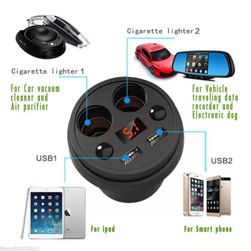 كوب شاحن سيارة متعددة الوظائف عرض الجهد 3.1A 2 USB شاحن سيارة DC12-24V ولاعة السجائر الخائن ل GPS DVR تهمة