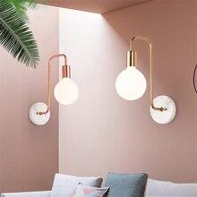 купить Nordic Marble LOFT LED Wall Lamp Bedroom Bedside Wall Lights Curved Iron Wall Sconce Lamp Corridor Staircase Lighting Decoration по цене 7184.62 рублей