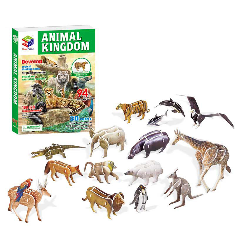 3D Paper Jigsaw Puzzles For Children DIY Kids Animals Cars Planes Insects Dinosaurs Fire Fights Early Learning Toy Box Gift