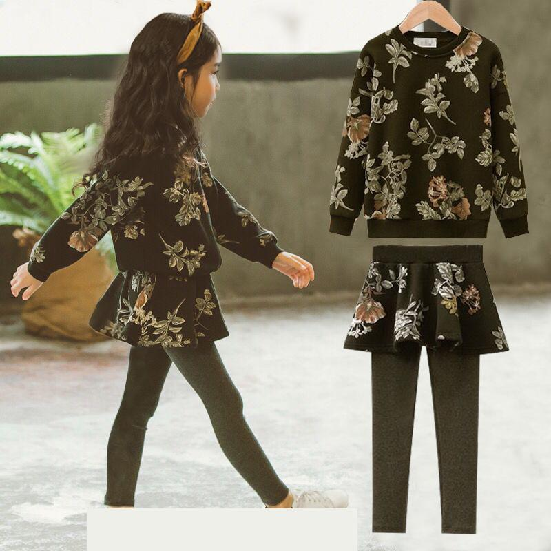 2018 Girls Clothes Set Sweatshirts + Skirts Leggings 2 Pcs Autumn Kids Clothes Winter Clothing For Teen Girls Clothings Sets 12 2018 toddler girls clothes set long sleeve sweatshirts skirts legging 2 pcs autumn kids clothes winter teen girls clothing set