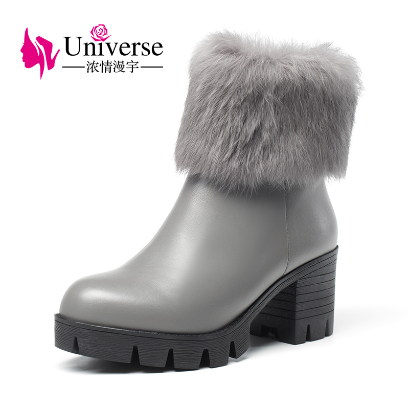Universe real fur mid calf women boots warm winter boots comfy block heel shoes ladies leather boots G345 stylish women s mid calf boots with solid color and fringe design