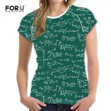 12c2a88417e FORUDESIGNS verde 3D fórmula matemática patrón Shorts de manga de mujer T  camisas marca de diseño O cuello camisetas para chicas.