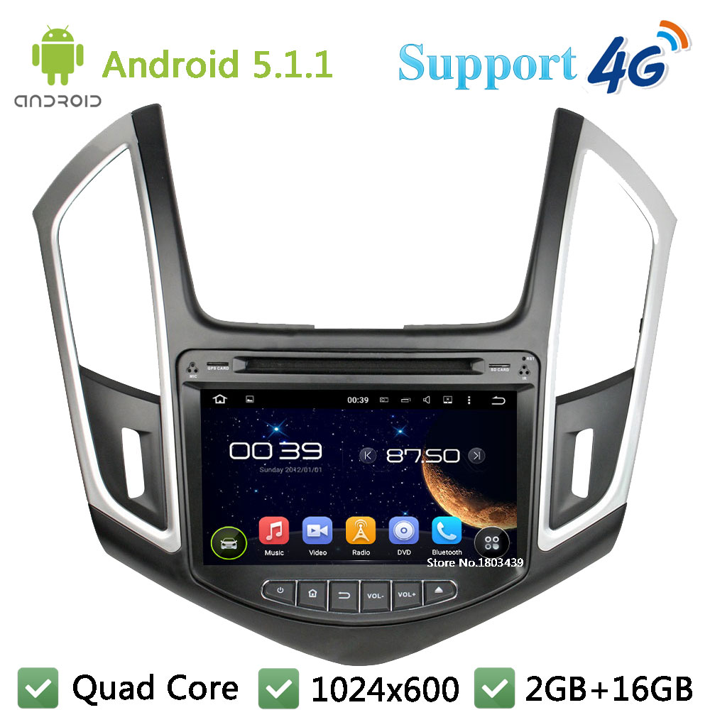 RK3188 Quad Core 8″ 1024*600 2DIN Android 5.1.1 Car DVD Player PC Radio USB FM BT 3G/4G WIFI GPS Map For Chevrolet Cruze 2015