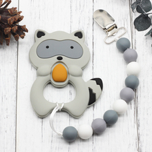 Silicone Raccoon Teether Short Chain Pacifier Pendant Necklace Nursing Soft Flower Beads Carrier Baby Safety Holder Accessory