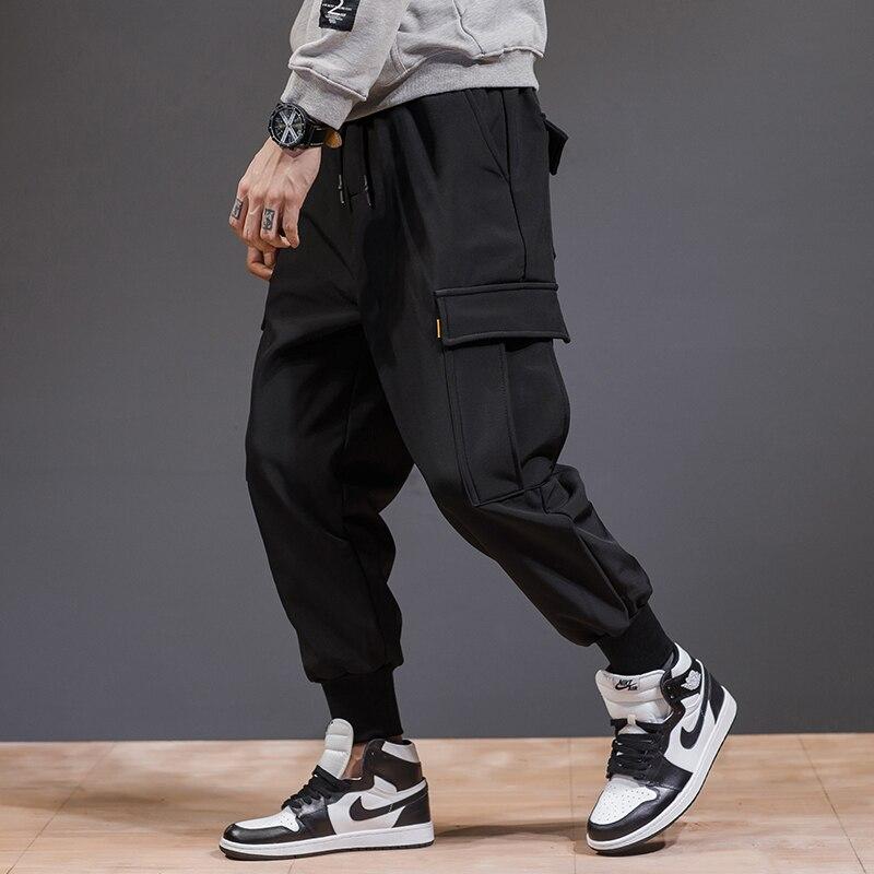 Hommes pantalon cargo noir 2019 printemps et automne Coréenne style mâle pantalon de mode coton poches adolescent garçon hip hop pantalon