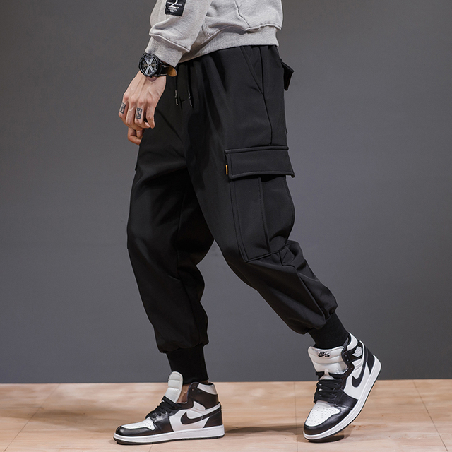 Men Cargo Pants Black 2019 Spring And Autumn Korean Style Male Pants
