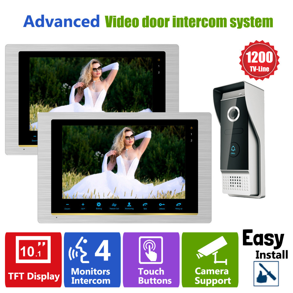 Homefong  Video Door Intercom Door Phone Recording  Doorbell Camera Intercom  10 Inch 1200TVL HD Additional Monitor Support 1V2 door intercom video cam doorbell door bell with 4 inch tft color monitor 1200tvl camera