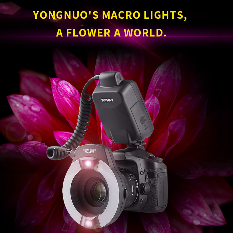 Yongnuo YN-14EX YN14EX master TTL flash ring type double lamp macro Speedlite with Adapter Ring for Canon EOS DLSR