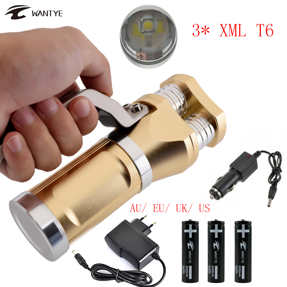 10000LM Powerful Rechargerable LED Flashlight Torch 3x XML T6 Outdoor Flash Light 3 Mode LED Torch 18650 For Hunting Lanterna