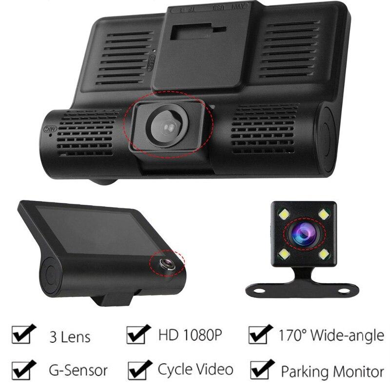 4.0 Inch Three-way Car Camera Full HD 1080P Registrator 170 Degree Wide Angle Tri-lens Dash Cam Video Recorder G-Sensor Dashcam