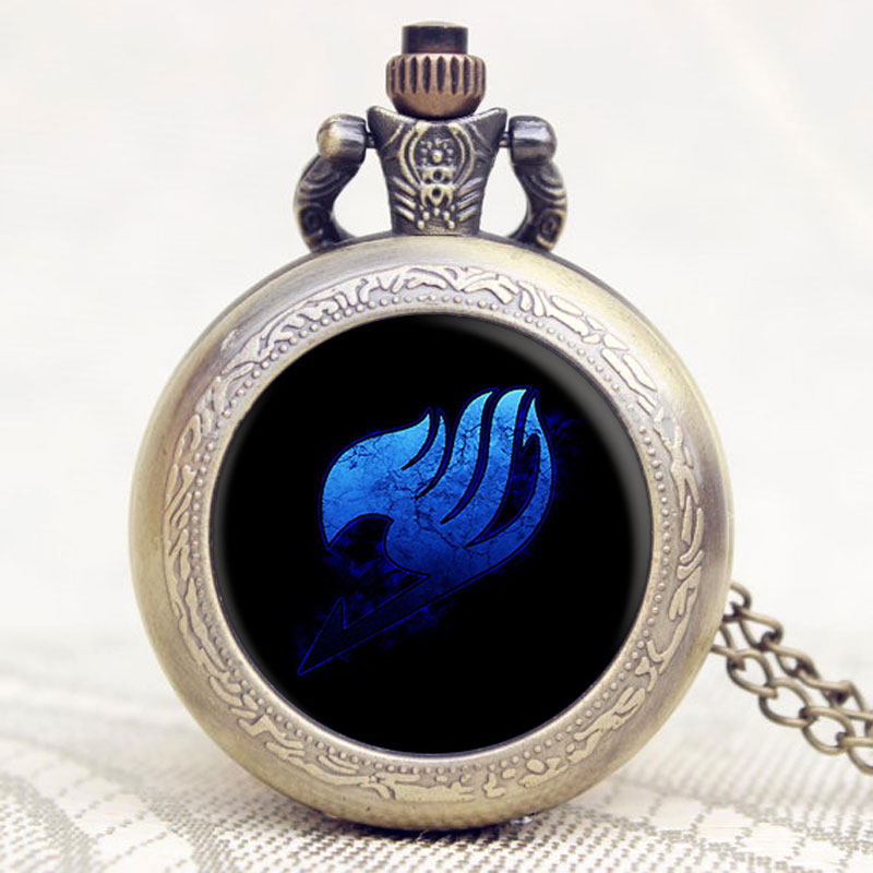 Japanese Animation Fairy Tail Extension Gift For Pocket Watch Glass Dome Quartz Pocket Watch Analog Pendant With Necklace C