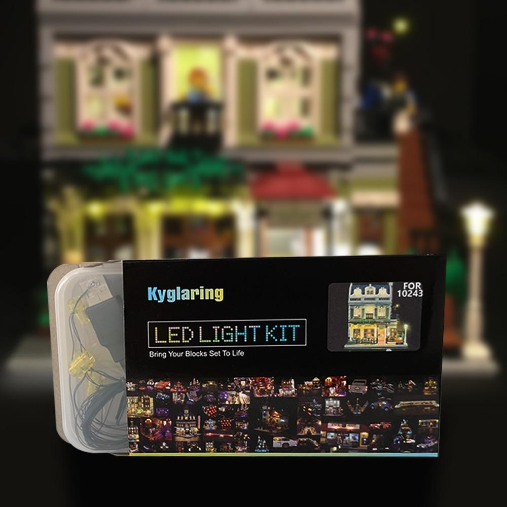 LED Light Up Kit  For Lego 10243 And   15010 Creator Expert City Street Parisian Restaurant Model Model Building Kit